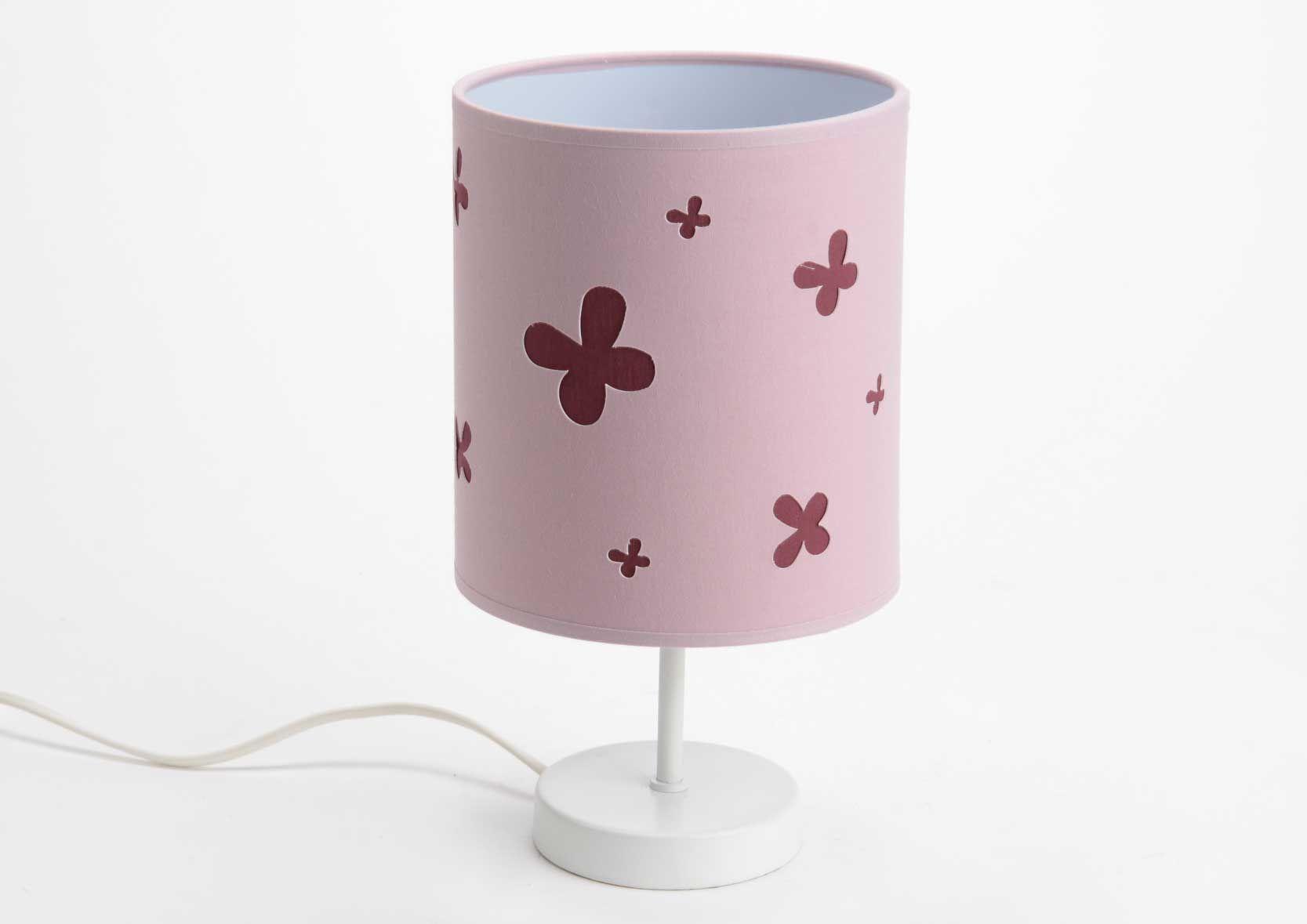 Lampe colonne motif Papillons Coton acier Amadeus