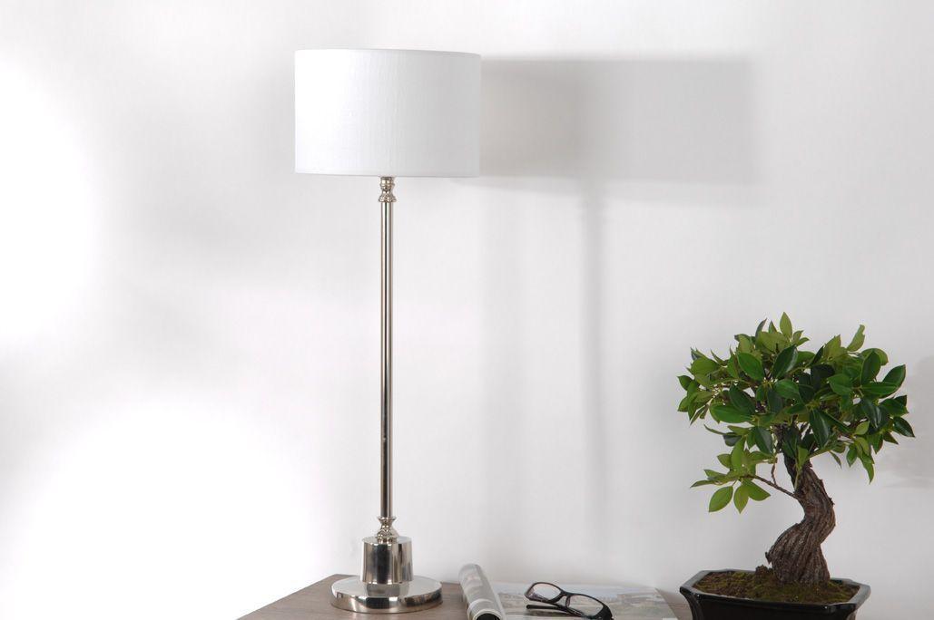 Lampe Seattle en lin blanc Laiton acier aluminium Amadeus