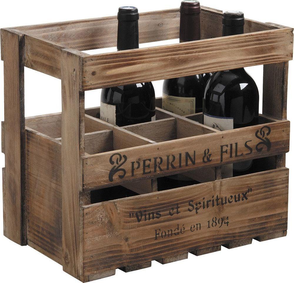 Caisse à vin 6 bouteilles en Bois 33x21x29cm
