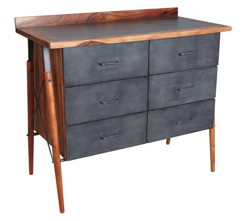 commode en bois de suar massif et m tal ebay. Black Bedroom Furniture Sets. Home Design Ideas