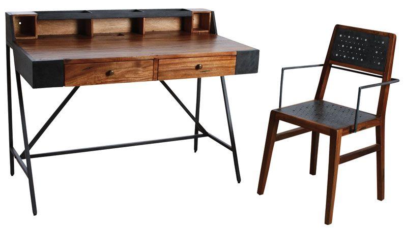 Bureau avec fauteuil en bois de suar massif et métal ebay