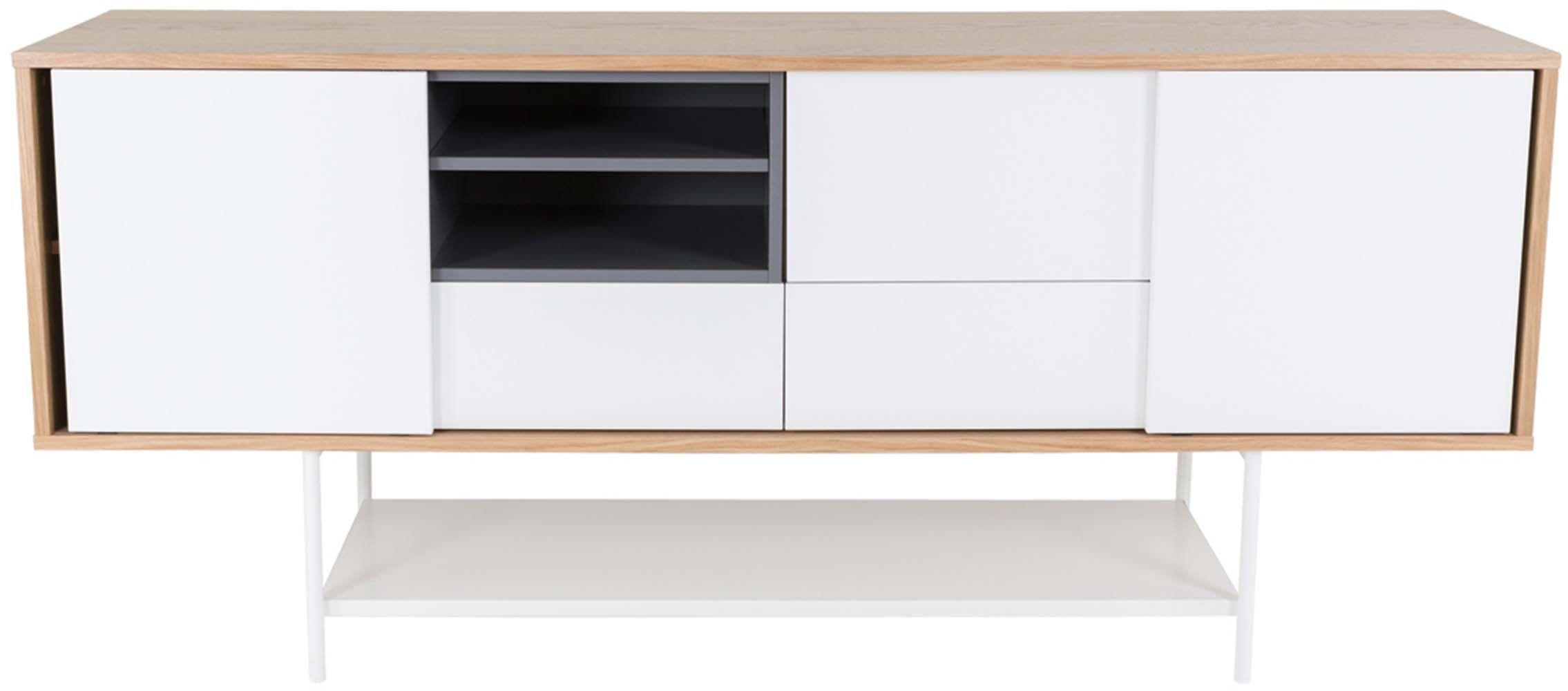 meuble bas plaqu ch ne naturel et blanc laqu eur 799. Black Bedroom Furniture Sets. Home Design Ideas