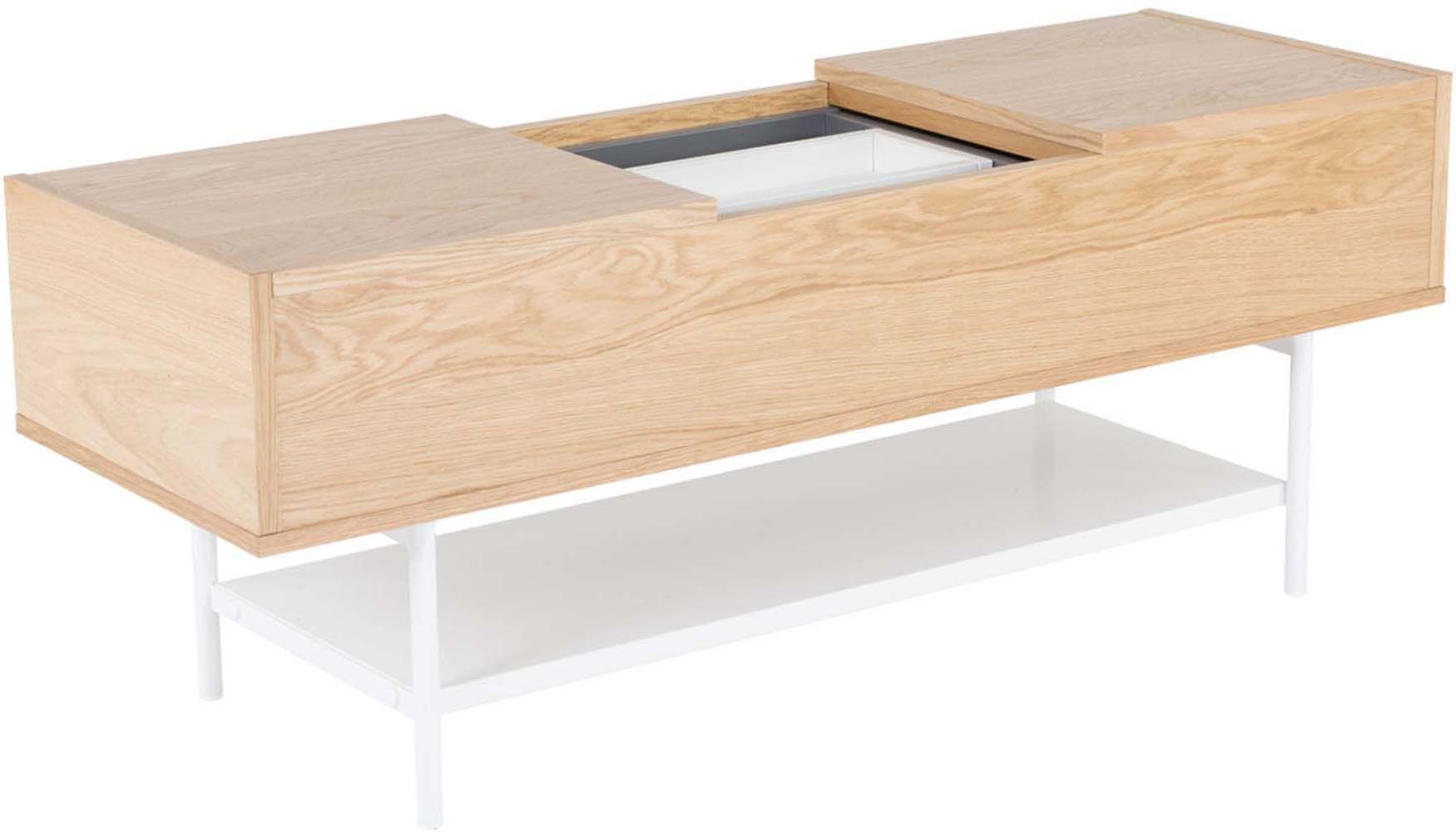 Table basse plaqu ch ne naturel et blanc laqu ebay - Table basse chene naturel ...