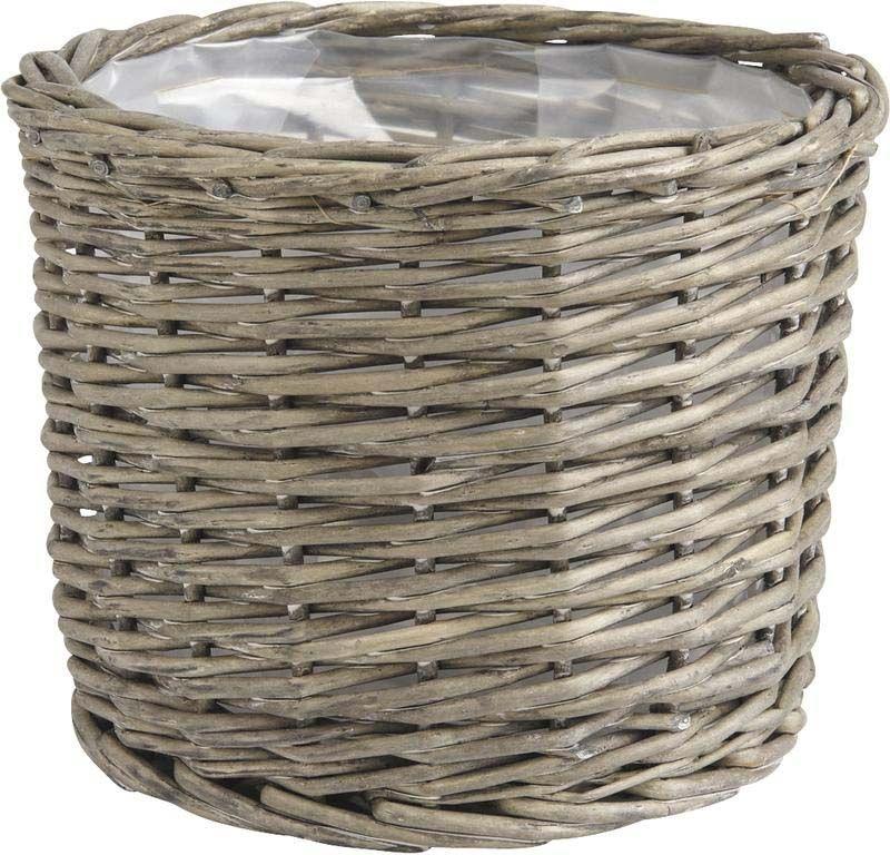Cache-pot-rond-en-osier-gris-Lot-de-5 miniature 2