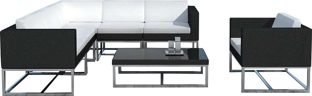 Salon de jardin design 7 éléments en résine noire coussins écrus | eBay