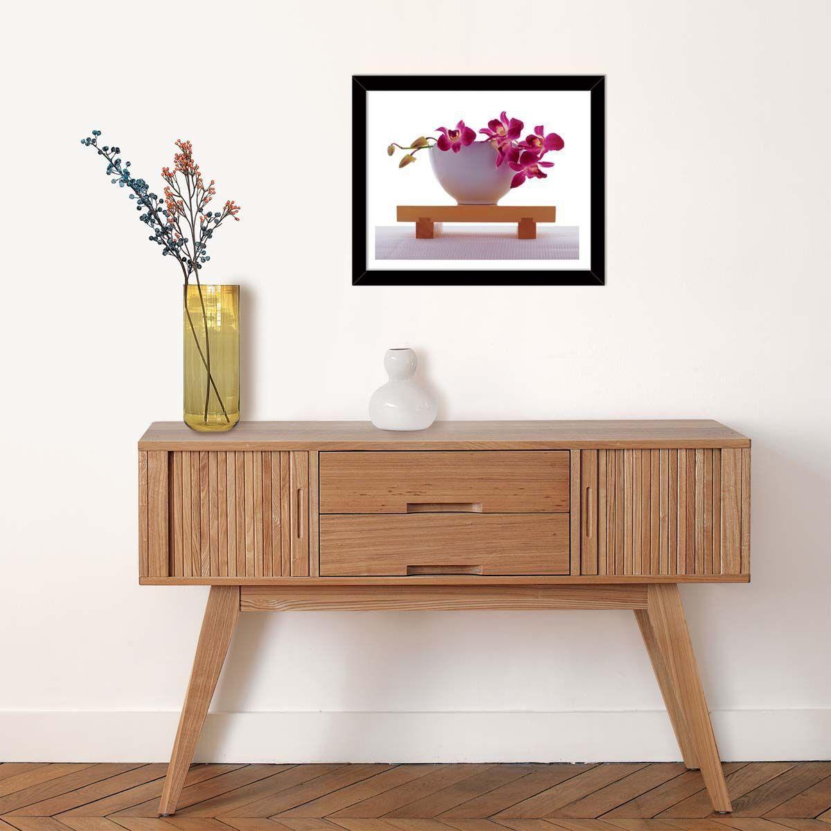 Affiche-Orchidee-rose-dans-un-bol-blanc-40x50-cm miniature 2