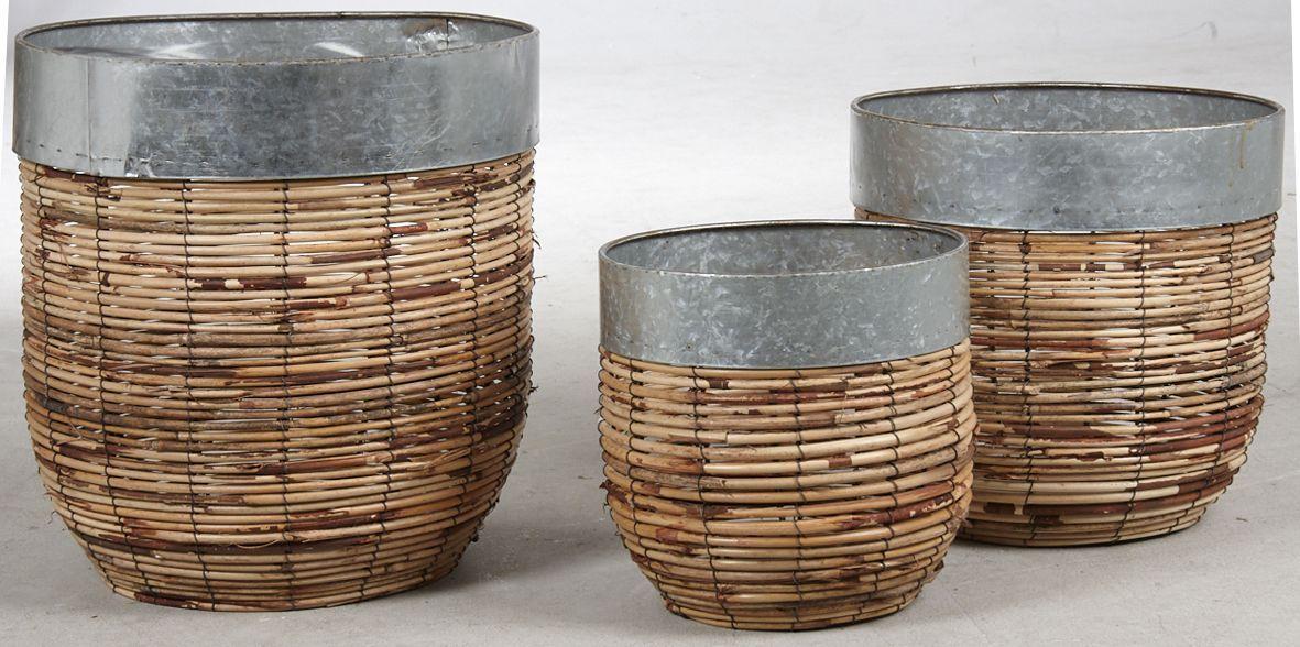 Cache-pots-en-rotin-Paolo-Lot-de-3 miniature 2