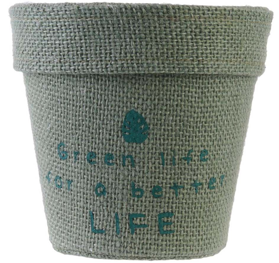 Pot-de-fleur-jute-plastifiee-My-Little-Market-Lot-de-3-8-5-cm miniature 4